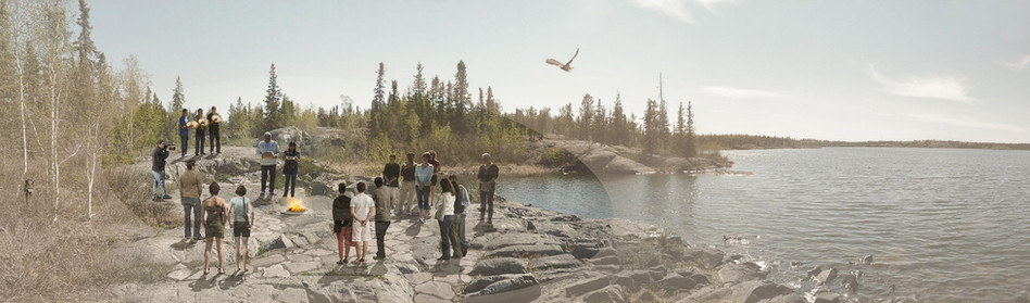 Ceremonial Gathering Area at Water's Edge Park in Yellowknife NWT