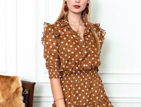 The Shirt Ruffled Mini Dress in Tan/White Dots
