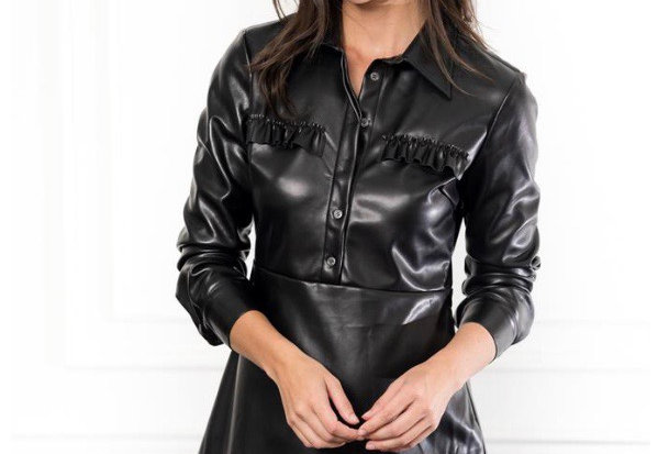 The Shirt Faux Leather Dress in Black
