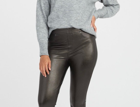 SPANX Faux Leather 5 Pocket Pant in Black