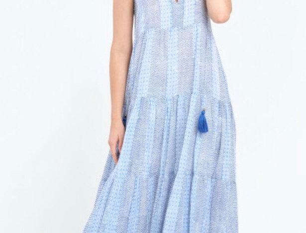Oliphant Long Tiered Tassel Dress -Tulum Blue