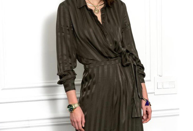 The Shirt Wrap Dress in Olive