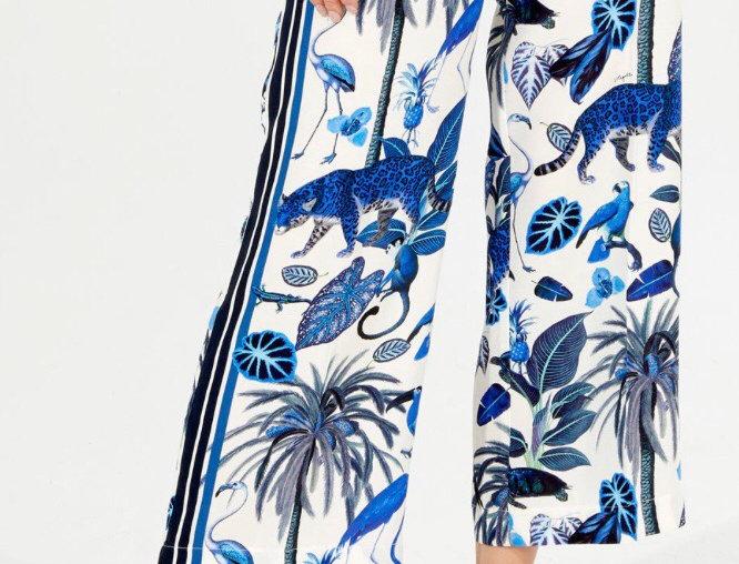 Vilagallo Sandra Trousers - Deep Blue Jungle