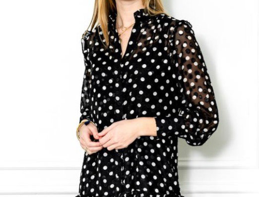 The Shirt Mini Dress with Ruffled Hem in Black/White Dots