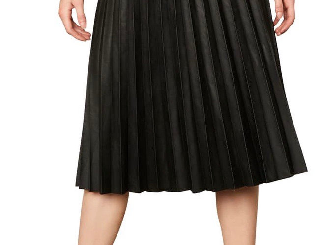 Cupcakes and Cashmere Faux Leather Black Pleated Skirt