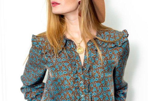 The Shirt Josephine Shirt in Brown/Turquoise