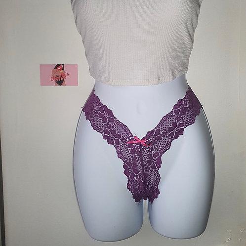 Grape Lace Thong