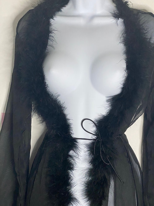 Extra Long Black Fluffy Robe