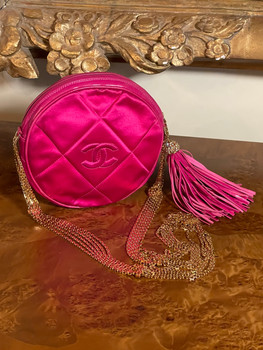 CHANEL ROUND CIRCLE CLUTCH ON CHAIN RED CC SHOULDER CROSSBODY BAG