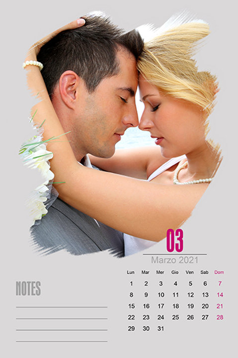 Calendario mensile su carta offset