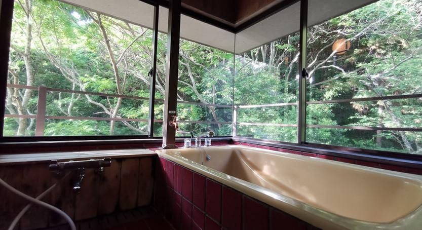 微風(403号室)の半露天風呂は2面窓で自然光を楽しめ開放的 ガラス窓で天候に左右されずに自然の中で温泉を楽しめます