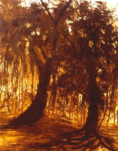 El bosque Aguafuerte y aguatinta sobre acero 48 x 39 cm $3,000.00