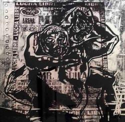 Colectivo_Ki_(Diana_Yuriko_y_Branli)_Arena_México_Xilografía_y_Transfer_24_x_30_cm_2009_$1,500.00