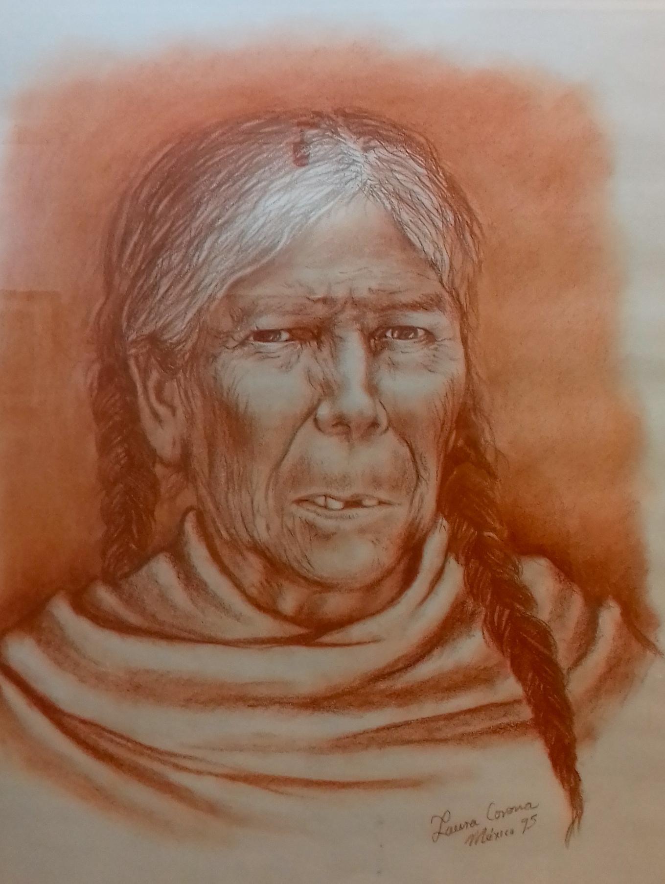 LAURA CORONA, ANCIANA, 60X50CM, $4.000