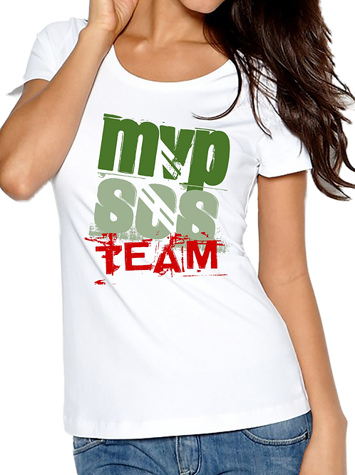 MVPSOS TEAM: White T-Shirt with 2-Color Logo