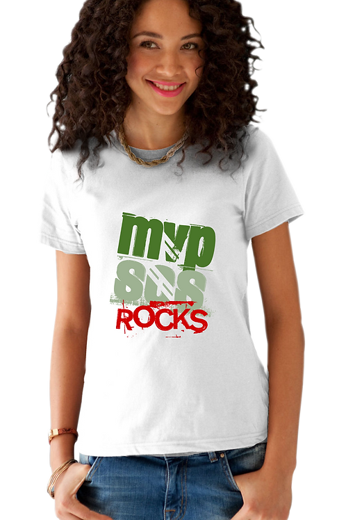 MVPSOS ROCKS: White T-Shirt with 2-Color Logo