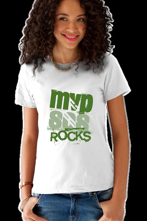 MVPSOS ROCKS: White T-Shirt with 1-Color Logo