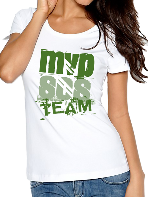 MVPSOS TEAM: White T-Shirt with 1-Color Logo