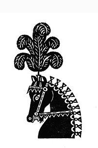 Plumed Horse Linocut