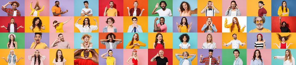 Photo set collage of faces of multiethni