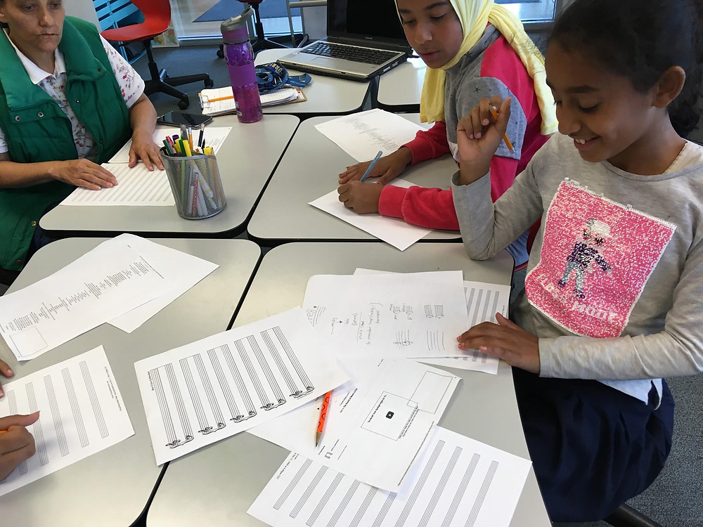Students practicing how to write notes and clefs