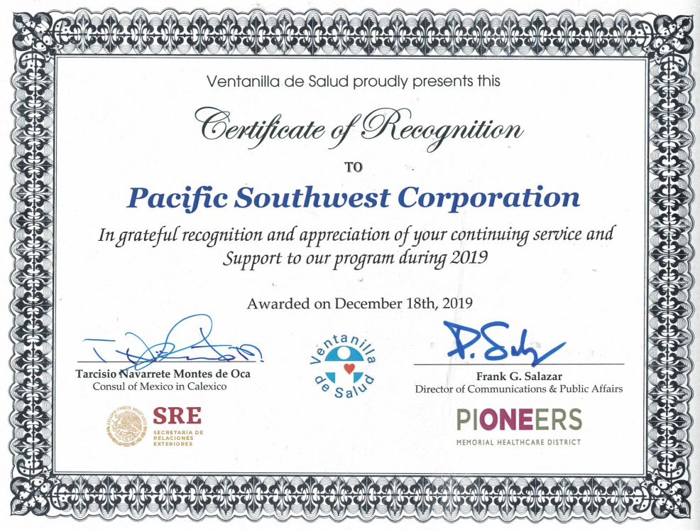 Certificate of Recognition to PSCDC from the Mexican Consulate