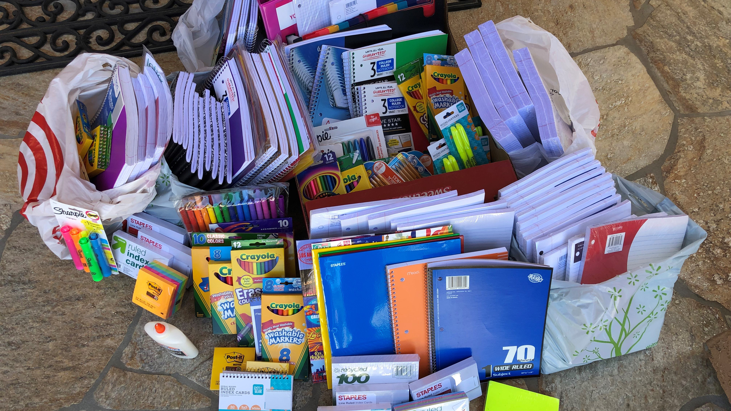Donated school supplies for local famili