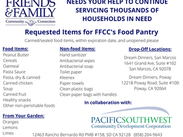 PSCDC And FFCC Teaming Up to Provide Supplies for San Diego Families