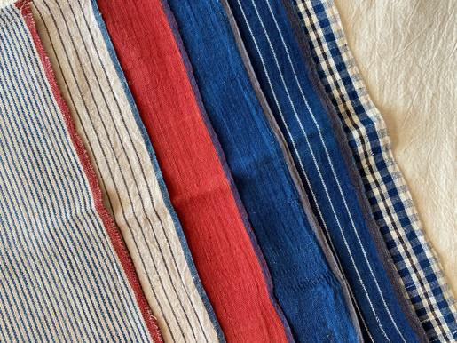 左から  Indigo Hickory / 1,800yen+tax  Charcoal Pin Stripe / 1,800yen+tax  Alizarin Red / 2,100yen+tax  Indigo / 2,100yen+tax  Indigo pin stripe / 2,100yen+tax  Madras / 2,100yen+tax