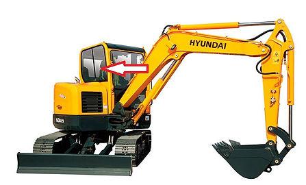 Стекло кузовное правое ближе к лобовому стеклу для мини экскаватора Hyundai Robex 60w-9s | стекло лобовое