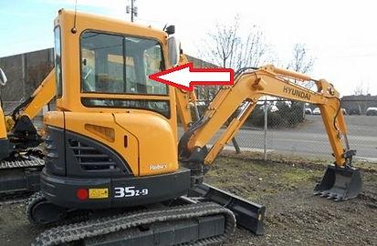 Стекло для мини экскаватора Hyundai R35Z-9 | Стекло для мини экскаватора Hyundai R27Z-9| стекло правое верхние кузовное возле стрелы ближе к лобовому стеклу подвижное (закаленное)