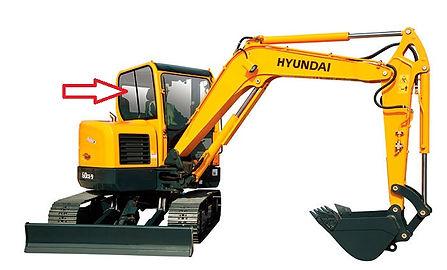 Стекло кузовное правое для мини экскаватора Hyundai Robex 60w-9s | стекло лобовое