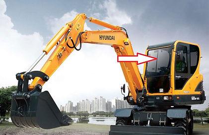 Стекло лобовое верхнее для мини экскаватора Hyundai Robex 60w-9s | стекло лобовое