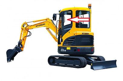 Стекло для мини экскаватора Hyundai R35Z-9 | Стекло для мини экскаватора Hyundai R27Z-9 | стекло кузовное заднее левое