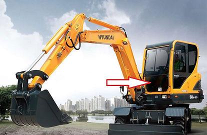 Стекло лобовое для мини экскаватора Hyundai Robex 60w-9s | стекло лобовое