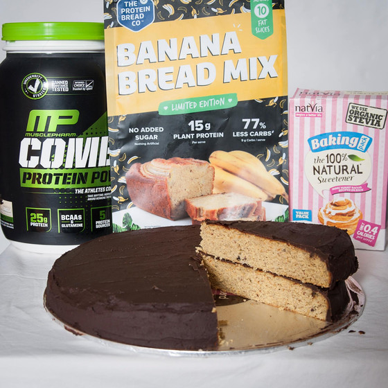 Banana and Chocolate Protein Cake - Low Carb/Sugar-Free
