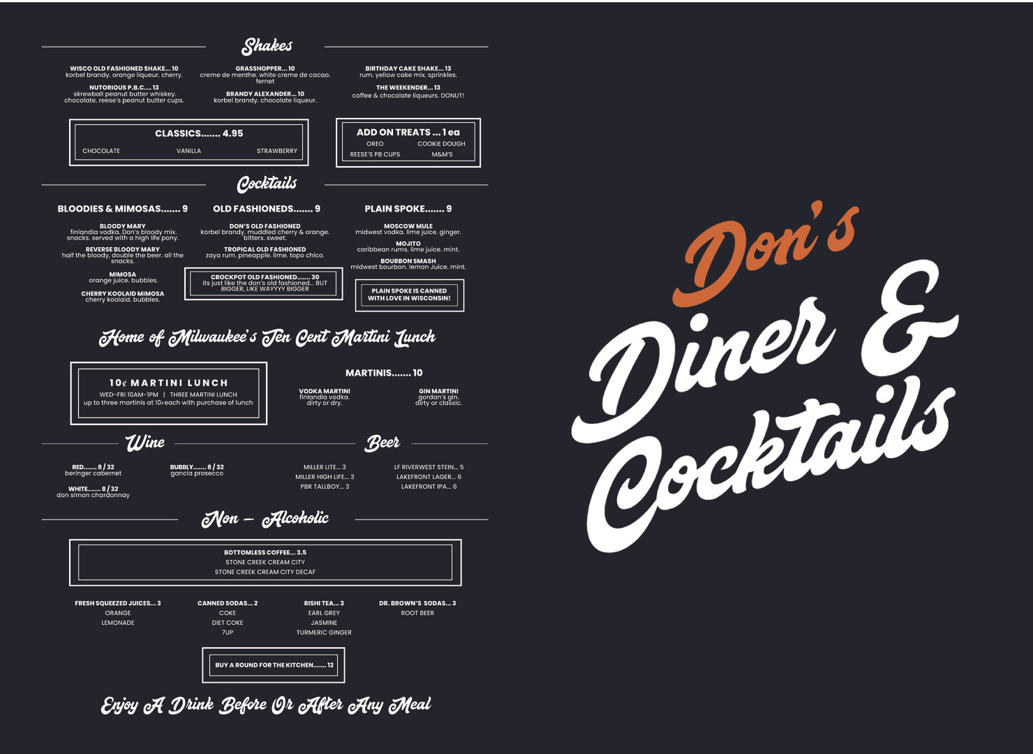 Don's Cocktail Menu Outside