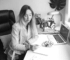 Hannah Farr at work desk