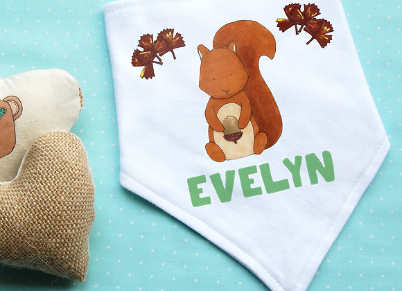 Personalised Red Squirrel Bib