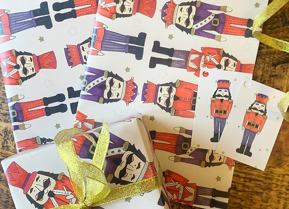 Nutcracker Christmas Gift Wrapping Paper Set
