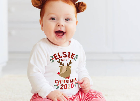 First Christmas Personalised Reindeer Vest
