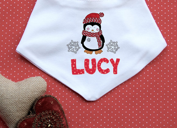 Personalised Christmas Penguin Bib