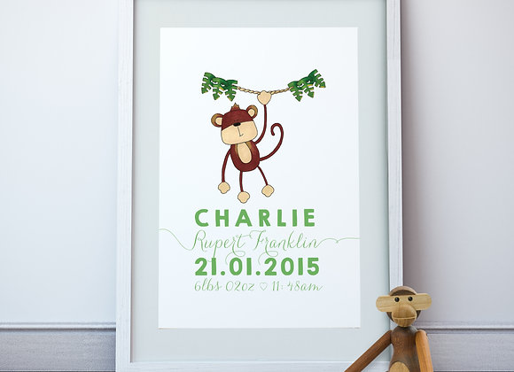 Personalised Monkey Wall Print