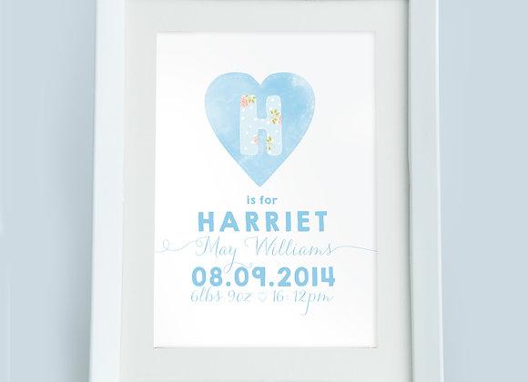 Personalised Polka and Rose Blue Heart Wall Print