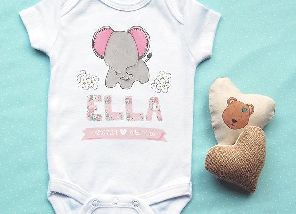 Personalised Elephant Baby Vest