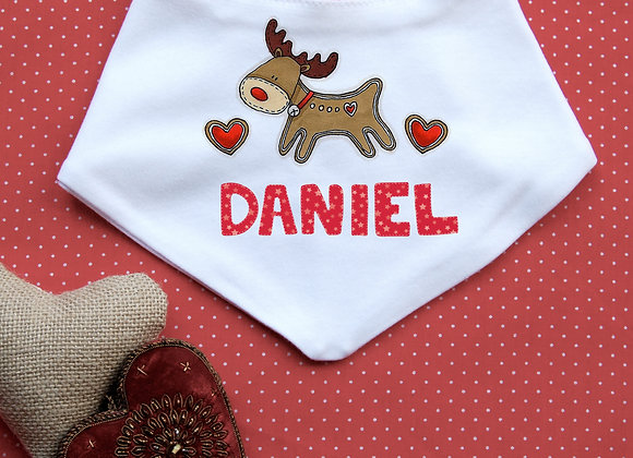 Personalised Gingerbread Reindeer Bib