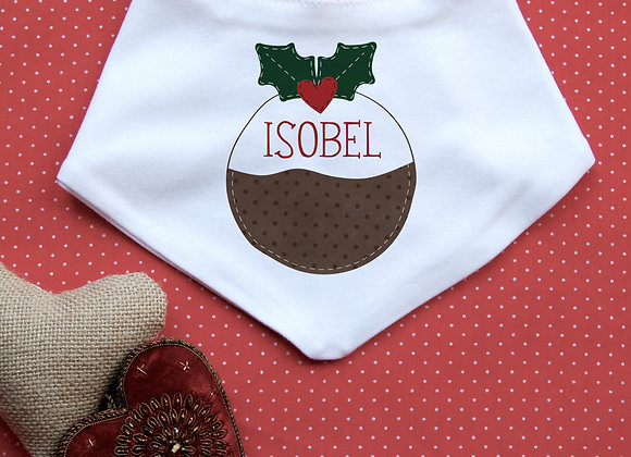 Personalised Christmas Pudding Bib