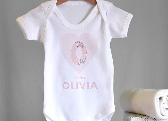 Personalised HEART babygrow - Floral Pink