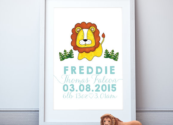 Personalised Lion Wall Print