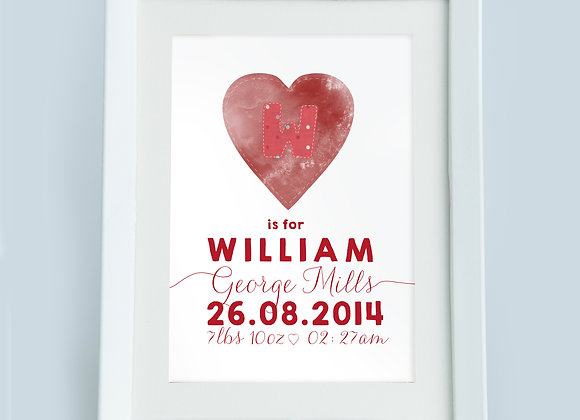 Personalised Red Spotty Heart Wall Print